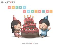 Check out the comic HJ-Story :: Happy Birthday Cute Couple Cartoon, Chibi Couple, Cute Love Cartoons, Cute Cartoon Characters, Hj Story, Birthday Messages, Birthday Images, Birthday Quotes, Happy Birthday
