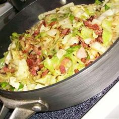 Bacon Cabbage Stir-Fry  If you like cabbage, you'll enjoy this, delicious, and fast to fix - however, cook cabbage to your desired tenderness - 5 min. may not do that. You could also add anything else you wanted.