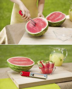 Create watermelon pops in seconds! Simply twist in, pull out, devour, and repeat! Perfect for summer.
