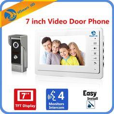 """7"""" inch Color Screen Video Doorphone Door Bell Sperakerphone Intercom System Rainproof Metal IR HD 700TVL COMS Camera Door Phone"""