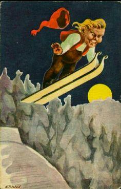 Julekort H. Tolstad Utg Damm 1930-tallet