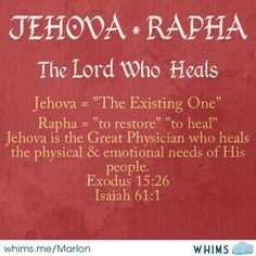 Jehovah-Rapha: The Lord Who Heals