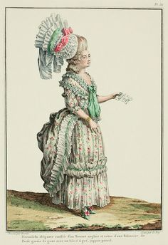 """""""Negligée polonaise: these gowns fasten simply over the chest like the current polonaises,* not extended to the waist, having long wings and a very short tail.The polonaise shown in the Print is trimmed with a large band in box pleats, with a narrow, spotted ribbon placed in the center; the first head in box pleats, the second in poufs.  On the shoulders, a kerchief à la Genlis, knotted in front, under a gauze contentement, called the """"comet with two tails. English cap, in organ pleats."""""""