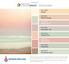 I found these colors with ColorSnap® Visualizer for iPhone by Sherwin-Williams: Hinoki (SW 7686), Sweet Orange (SW 6351), Pink Shadow (SW 0070), Gossamer Veil (SW 9165), Topiary Tint (SW 6449), Rachel Pink (SW 0026), Frostwork (SW 0059), Gratifying Green (SW 6435).