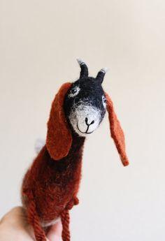 Sibella  Felt Goat. Felted Toy Art Marionette by TwoSadDonkeys
