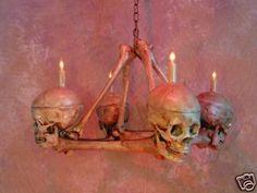 Skull Chandelier Halloween Prop