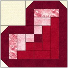 "Log Cabin Heart Quilt Block using 2""strips.  Makes 12"" block.  Download available."