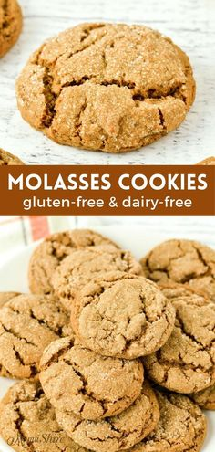 Gluten-Free Soft Molasses Cookies (Dairy-Free) - MamaShire Best Gluten Free Recipes, Gluten Free Desserts, Cookie Recipes, Dessert Recipes, Dairy Free Cookies, Molasses Cookies, Celiac, Kitchen Recipes, Christmas Baking