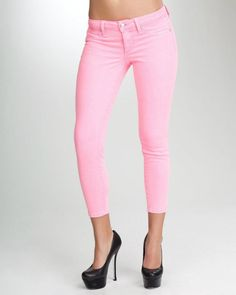 bebe neon ankle straight crop jean. LOVE the pink!