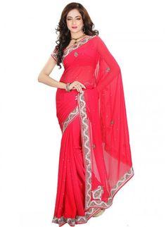 Butta Crimson Chiffon based Embellished #Saree