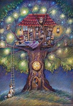 Tree House by Lena Nokeek - obviously the tree-house of a book-lover. Tree House by Lena Nokeek - ob Art And Illustration, Fantasy Kunst, Fantasy Art, World Of Books, Whimsical Art, Cute Art, Book Worms, Illustrators, Book Art