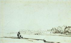 View of Amstel river in Amsterdam, 1641 by Rembrandt. Baroque. sketch and study