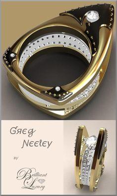 Brilliant Luxury ♦ Greg Neeley Floating Marquis Black Night Ladies Ring