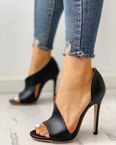 PU neck peep toe skinny sandals , PU Cutout Peep Toe Thin Heeled Sandals , Zapatos Source by Leopard Espadrilles, Espadrille Sneakers, Slip On Sneakers, Leopard Heels, Strap Heels, Pumps Heels, Stiletto Heels, High Heels, Heeled Sandals