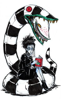 Great illustration from one of my favourite Tim Burton movies, Beetlejuice Tim Burton Stil, Tim Burton Kunst, Estilo Tim Burton, Tim Burton Drawings, Tim Burton Art Style, Tim Burton Artwork, Desenhos Tim Burton, Tim Burton Characters, Arte Obscura