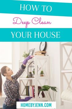 Wondering how to deep clean your house? These simple tips will make all those germs go away! Not too mention, cleaning will help you declutter as well! Don't feel overwhelmed by the thought of spring cleaning! Instead, put it into an easy cleaning checklist so you can tackle areas of your home one by one! These easy tips will have you not dreading cleaning your home any longer and having you gear up to tackle the rest of the house. #cleaning #DIY #springcleaning #cleaningchecklist #deepclean via Cleaning Routines, Cleaning Diy, Deep Cleaning Tips, Daily Routines, Cleaning Checklist, Spring Cleaning, Cleaning Cabinets, Cleaning Walls, Clean My House