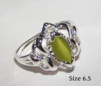 Peridot Green Cats Eye Opal Ring Free Shipping $9