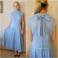50s Blue Dress Vintage Rockabilly Full Skirt Low Waist Adorable Bow Back. $69.99, via Etsy.
