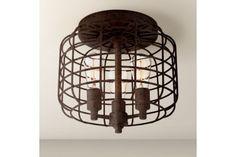 Larkin Industrial Rust Metal Cage 16-Inch-W Ceiling Light - #EU3X108 - Euro Style Lighting