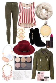 """red and kaki"" by jade-boss ❤ liked on Polyvore featuring Lipstick Queen, J Brand, Versus, Te Amo, H&M, Monsoon, Chanel, Frends, Forever 21 and Monika Strigel"