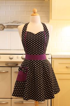 Sweetheart Apron Black and White Polka Dot with Purple by Boojiboo, $28.75