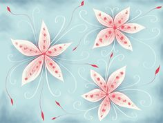 Beautiful abstract flowers in red and white - digital illustration