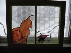 Carmel Cat with fish in antique window panel. (Tough cuts on this one; saw probably required! Window Panes, Antique Windows, Glass Animals, Stained Glass, Tiffany, Mosaic, Fish, Pets, Antiques