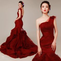 Wholesale cheap wedding dresses online, court train - Find best dark red one shoulder tulle ruffles pleated sleeveless mermaid court train wedding dresses bridal gowns a834 at discount prices from Chinese mermaid wedding dresses supplier on DHgate.com.