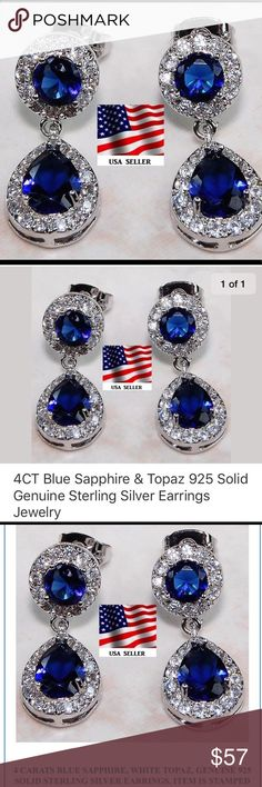 Stunning Sapphire & White Topaz Earrings Perfect Christmas Gift for anyone on your list! Stunning Deep, deep blue Sapphire's      Earring type: Stud Stone type: Sapphire & White Topaz 4 Carats (TCW) Color of Stones: Blue/White White cardboard box with cotton insert included.  Premium Gift Boxes available ranging from $2 - $5 (box selection photos upon request) Jewelry Earrings