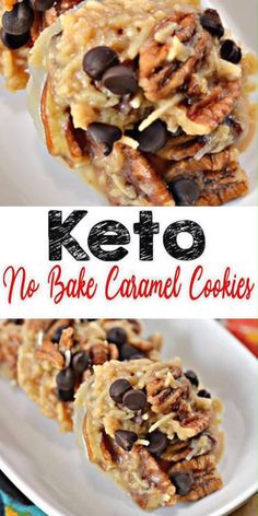 Low carb NO BAKE caramel cookies! Try the BEST cookies for a ketogenic diet. Keto friendly Easy NO Sugar, gluten free & Low Carb Recipe. Keto cookies you will love! Keto friendly caramel snacks that are quick. Keto Cookies, Cookies Et Biscuits, Pecan Cookies, No Sugar Cookies, Healthy No Bake Cookies, Keto Cookie Dough, Almond Joy Cookies, Keto Donuts, Keto Peanut Butter Cookies