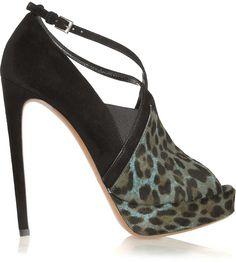 1b10853b9b01e Alaïa Leopard-print calf hair and suede platform pumps Black Peep Toe  Pumps