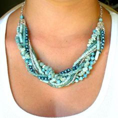 Beaded Necklace, Seafoam Multi Strand Beaded Necklace with Amazonite Freshwater Pearls and Glass Beads in Silver