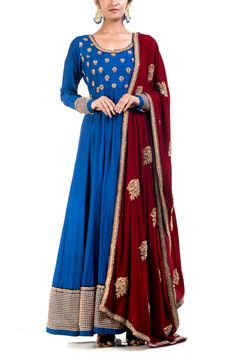 Indian Women Suits - Indigo Blue Anarkali | WedMeGood | Indigo Blue Anarkali with Booties on Boddice and Gold Border, Marsala Colored Dupatta with Booties #wedmegood #indianbride #indianwedding #anarkali #suits #indigoblue #marsala