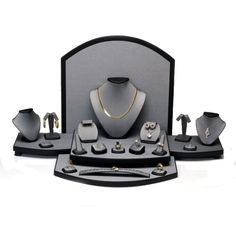 Jewelry Displays, Ring Displays, & Earring Displays Gems on Display - Display Set 22 Steel Grey