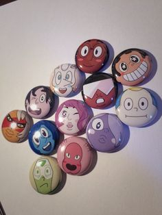 Steven Universe Pins 12 Buttons (Steven, Garnet, Pearl, Amethyst, Rose, Connie, Lion, Lapis, Peridot, Greg, Onion, and Jasper)