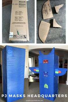 PJ Masks HQ (or Headquarters) made from a water heater box and a dollar store table cover! Perfect for any PJ Masks birthday party! Costume Birthday Parties, Frozen Birthday Party, Birthday Diy, Birthday Ideas, Mermaid Birthday, Pj Mask Party Decorations, Diy Birthday Decorations, Pj Masks Headquarters, Festa Pj Masks