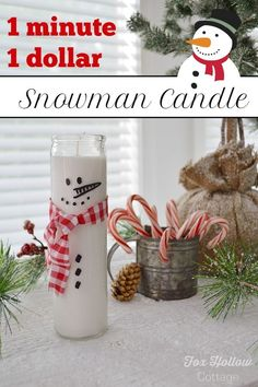 So cute! one minute-one dollar frosty the snowman candle. Dollar Tree crafted DIY Christmas decor or gift idea!