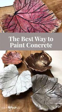 Concrete Leaves, Concrete Bowl, Concrete Sculpture, Concrete Art, Painting Cement, Cement Art, Concrete Crafts, Concrete Projects, Concrete Garden Ornaments