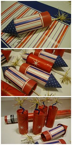 4th of July table or tree decorations photo tutorial shows how to make these cute rockets and firecrackers using empty toilet paper tubes at shabbyteaparty.blogspot.com