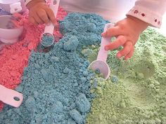 Learn how to make a colorful cloud dough recipe that is taste safe to enjoy with your toddler. With only 3 ingredients our cloud dough recipe is just what you are looking for! Great for sensory play! Cloud dough is also known as fairy dough!