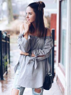 Bluse Langarm mit Knoten - grau