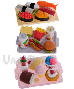 Japanese Food Eraser Sets.  You can actually take the little pieces apart!