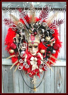 HUGE Red Christmas in New Orleans Mardi Gras Wreath, Carnival, Venetian Mask, red black silver Gold, by IrishGirlsWreaths on Etsy