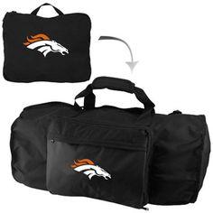 Need this!!!!   Denver Broncos Black Foldaway Duffel Travel Pack