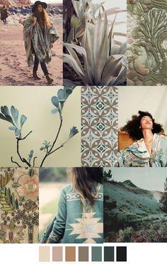 S/S 2016 colors trend: DESERT SAGE - much nicer than than sickly pantone colours Colour Schemes, Color Trends, Color Patterns, Paper Patterns, Floral Patterns, Design Visual, Color Pallets, Color Inspiration, Inspiration Boards