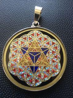 "MerKaba Flower Of Life Lapis Gemstone Necklace1.5/8"" Sterling Silver Mystic Gift  | eBay"