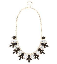 Gold Leaf Bib Gemstone Necklace