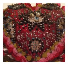 Sailor's pin cushion from Tate Britain's 'British Folk Art' exhibition. Saint Valentine, Be My Valentine, Vintage Valentines, Valentine Crafts, Soft Heart, Sewing Accessories, Heart Art, Pin Cushions, Beaded Embroidery