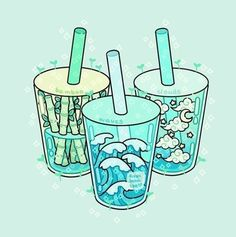 which drink would you like?🎋🌊☁️ (These were supposed to be boba drinks BUT I couldn't fit in the boba 😢) would you like to see more drink sets like these in the future? Art Kawaii, Chibi Kawaii, Arte Do Kawaii, Kawaii Wallpaper, Cute Wallpaper Backgrounds, Cute Wallpapers, Aesthetic Drawing, Aesthetic Art, Aesthetic Anime