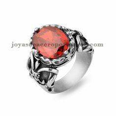 anillo con cristal de rojo en acero para mujer-SSRGG19502